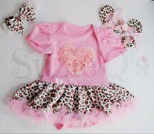 Baby Girls 3-6mo pink romper w/ leopard print tutu w/headband and shoes 4pc set