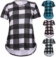Scoop Neck Waist Length Check Casual Tops & Shirts for Women