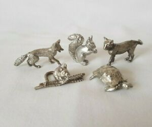 5 Miniature Well Detailed Silver Plate Pewter Animal Figures Cat Mouse Fox Etc