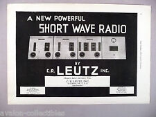 Leutz Short Wave Radio PRINT AD - 1930