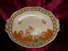 Crown Ducal OVAL DISH / BOWL Autumn Leaves (Cream, brown, orange) for fruit eggs