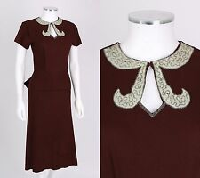 VTG 1940s BROWN RAYON CREPE BEADED PLEATED BOW BACK DRESS SZ XS