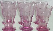 Balda Floral Etched Purple Juice Glass Depression Vintage Lot of 6