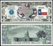 TEXAS STATE MILLION DOLLAR w MAP, SEAL, FLAG, CAPITOL - Lot of 2 BILLS