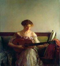 """Oil painting joseph rodefer de camp - nice young lady playing guitar in room 36"""""""