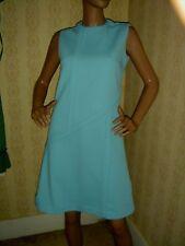 VINTAGE clothes 60s 1960s dress AQUA shift dress sleeveless BUST=36 M