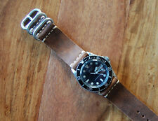 Horween Brown Horsehide Leather Watch Strap Band 22mm for Vintage Seiko Diver