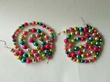 """New Listing2 Strands Vintage Christmas Garlands Multi Color Mercury Glass Beads 33"""" & 35"""""""