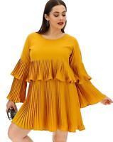 Curve Ladies Mini Layered Summer Dress UK 20  Mustard By Ax Paris Curve