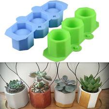 3 Holes Mini Octagon Flower Pot Silicone Mold Cement Concrete Handmade DIY Decor