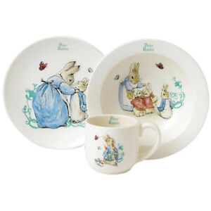 Beatrix Potter Peter Rabbit 3 Piece Nursery Set including Bowl, Cup and Plate