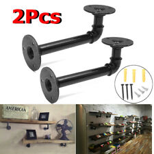 "UK 2Pcs 6.3"" Retro Iron Industrial Urban Pipe Black Shelf Brackets Stand"