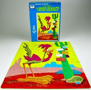 "Vintage 1968 Whitman 14"" x 18"" 100 Piece Road Runner Jigsaw Puzzle Complete 4610"