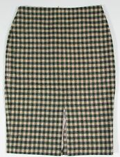 BODEN Size 4 US Plaid British Tweed by Moon Wool Pencil Skirt w/ Slit Lined