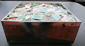 VAST COLLECTION OF STAMPS IN OLD TIN - MUCH VINTAGE - ALL PERIODS- EST 22,000+