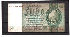 50  Reichsmark Deutschland 1924 - 1945 bankfrisch