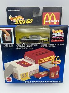 Hot Wheels Sto And Go Mcdonalds Set With Car 25 Years 1/64 Scale FREE SHIPPING