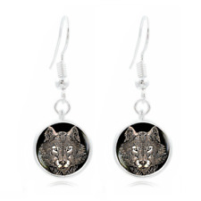 Wolf Photo Art Glass Cabochon 16mm Charm Earring Earring Hooks