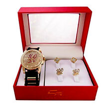 Hip Hop Rubber Black and Gold Bling Watch w/ 2 Sets of Stud Earings GJM12F Gold
