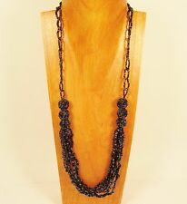 """30"""" Long Multi Strand Handmade Black Mixed Glass & Seed Bead Necklace"""