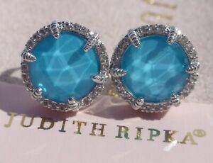JUDITH RIPKA TURQUOISE Doublet and WHITE TOPAZ Sterling Silver STUD EARRINGS NEW