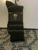 Vince Camuto Men's Dress Socks; Black Stripes (One Size)