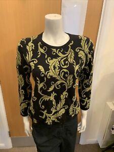 Viz A Viz Green & Black Jumper - UK Ladies Size 10 BX