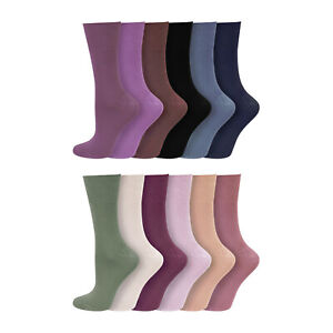 Ladies Non Elastic 3/6/12 Pack Super Soft DARK Bamboo Socks Uk 4-7, Eu 37-42