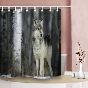 Cute Animal Theme Bathroom Waterproof Fabric Bathtub Shower Curtain & 12 Hooks