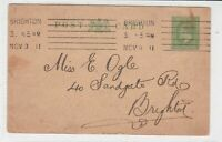 England 1911 Brighton Cancel Wooing Lady Chat up Stamp Card to Brighton Ref34930