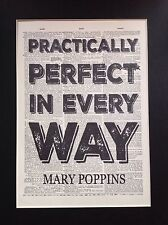 Mary Poppins Practically Perfect A4 Size Gift Idea Antique Dictionary Page Art 1