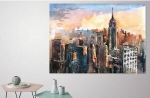 COLORFUL SCENERY CITIES  WALLART picture Canvas home wall choose your size