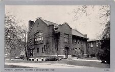 NORTH MANCHESTER INDIANA PUBLIC LIBRARY~CLEARVIEW B/W POSTCARD 1950s