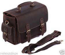 Vintage Cowhide Leather Camera Bag Case Messenger Handbag for SLR Canon Nikon
