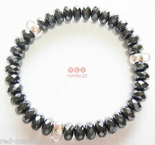 New 925 Silver Sterling Hallmarked Hematite Charm Carrier Bracelet By Source.