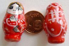 2 perles POUPEE RUSSE matriochka porcelaine 25mm BEIGE DIY Bijoux Loisirs Déco