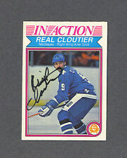 Real Cloutier signed Nordiques In Action 1982-83 Opee Chee hockey card