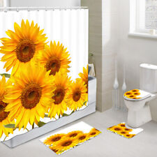 Yellow Sunflower on White Fabric Shower Curtain Toilet Mat Contour Rug 4Pcs Sets