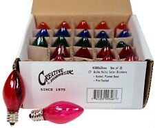 25 Random Blinking Assorted Color Light Bulbs, 7 Watt, C7 Candelabra Base