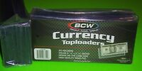 25 REGULAR BILL CURRENCY TOPLOADERS, RIGID, HOLDS U.S. CURRENCY- FREE SHIPPING