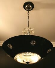 Antique aluminum black clear glass custom Art Deco ceiling light fixture