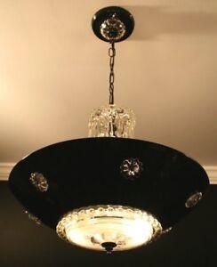Antique aluminum black clear glass custom Art Deco ceiling light fixture