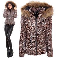 Piumino donna giubbotto giaccone leopardato giacca cappuccio animalier VB-10410