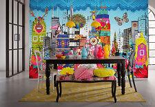 Murales Papier peint fleurs abstrait 368x254cm ville composition couleurs mélangées
