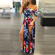 Women Boho Jumpsuit Romper Maxi Dress Evening Party Playsuit Beach Long Dress #2 Red 2xl