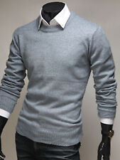 Mens New Fashion Slim Fit Knit Round Crewneck Sweater Long Sleeve Top W518 S~2XL
