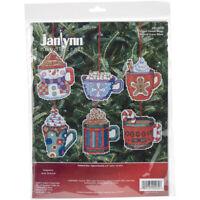 "Janlynn Counted Cross Stitch Kit 3.5""X3.5"" 6/Pkg-Cocoa Mug Ornaments (14 Count)"