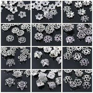 50pcs Tibetan Silver Flower Bead Caps Loose Spacer Beads lot DIY Jewelry Making