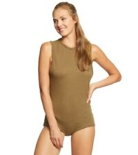 Free People Olive Army Green All The Time Tank Bodysuit NWT $48 Size Medium