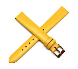 """Lucien Piccard 14MM Genuine Leather Watch Band 7.5"""" YELLOW Fits Monte Baldo NEW"""